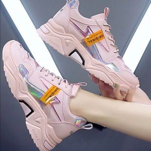 SHEIN pink chunky trainers/sneakers